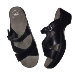 Dansko Black 8 wedged sandals
